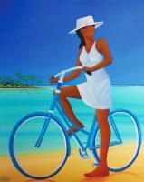N 1103 bicyclette au chapeau blanc 65x54